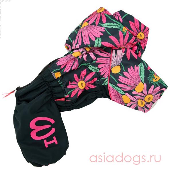 """Дождевик """"Цветы"""" черно/розовый для девочек"""