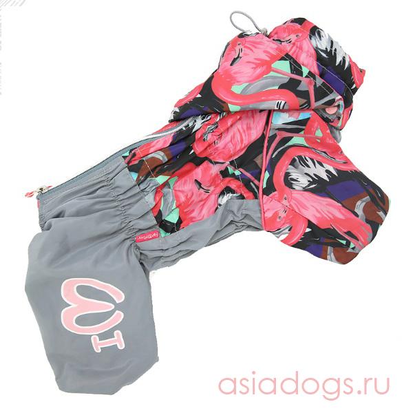 """Дождевик """"Фламинго"""" серо/розовый для девочек"""