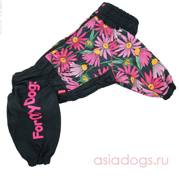 """Дождевик""""Цветы""""черно/розовый для девочек"""