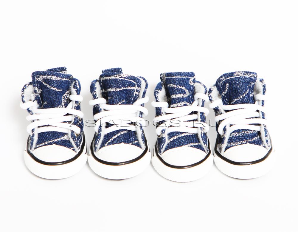 """Кеды джинсовые """"Shine"""" синие/серебро"""