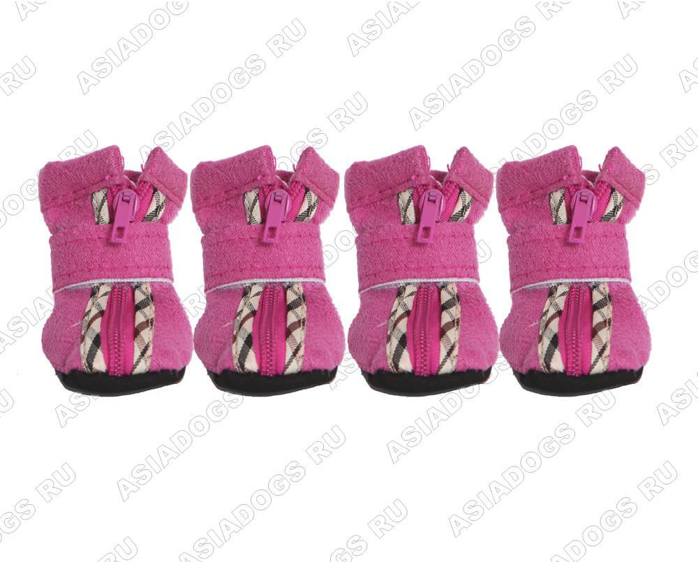 """Ботиночки мягкие """"Бархат"""" с замочком, розовые"""