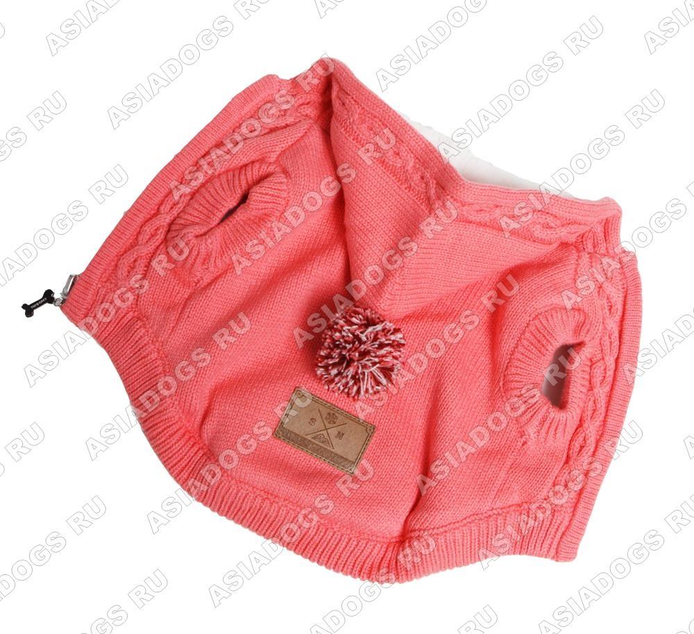 Вязаная розовая кофта
